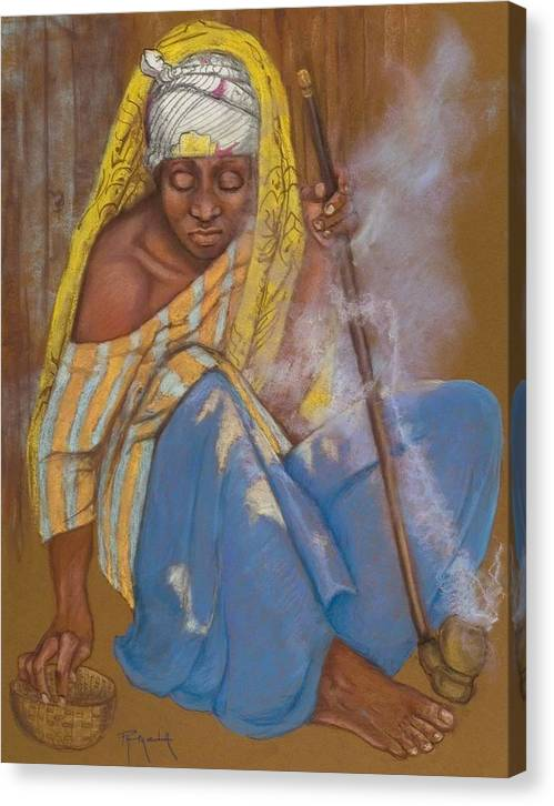 African Woman Smoking Her Pipe African Woman Pastel Painting Smoking A Pipe Turban On Head Seated African Woman Smoke Pastel Painting Pastel Painting Old African Woman Pastel Painting Pam Mccabe Pamela Mccabe Realistic Blue And Gold Colors Pastel Canvas Print featuring the painting The Smoker by Pamela Mccabe