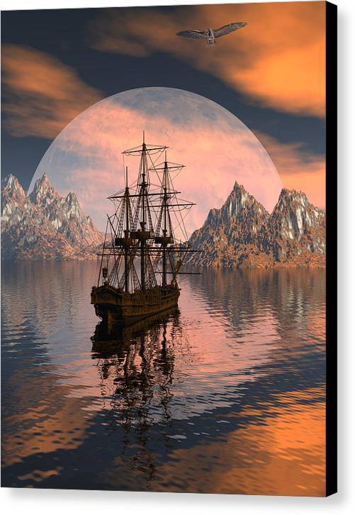 Bryce 3d Digital Fantasy Scifi Windjammer Sailing Canvas Print featuring the digital art At Anchor by Claude McCoy
