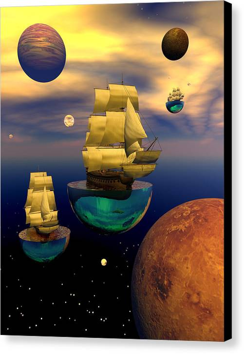 Bryce 3d Scifi Fantasy tall Ship Windjammer \sailing Ship\ Sailing Canvas Print featuring the digital art Celestial Armada by Claude McCoy