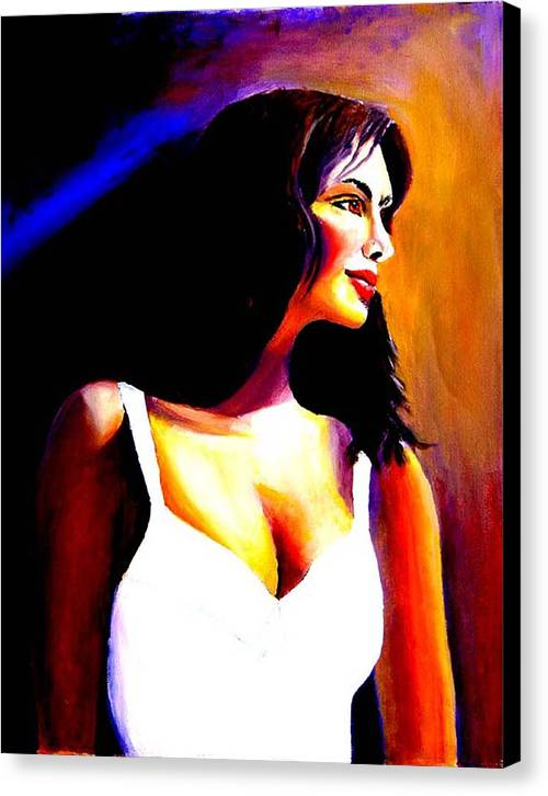 Portrait Of A Beautiful Woman Canvas Print featuring the print Fatima by George Markiewicz