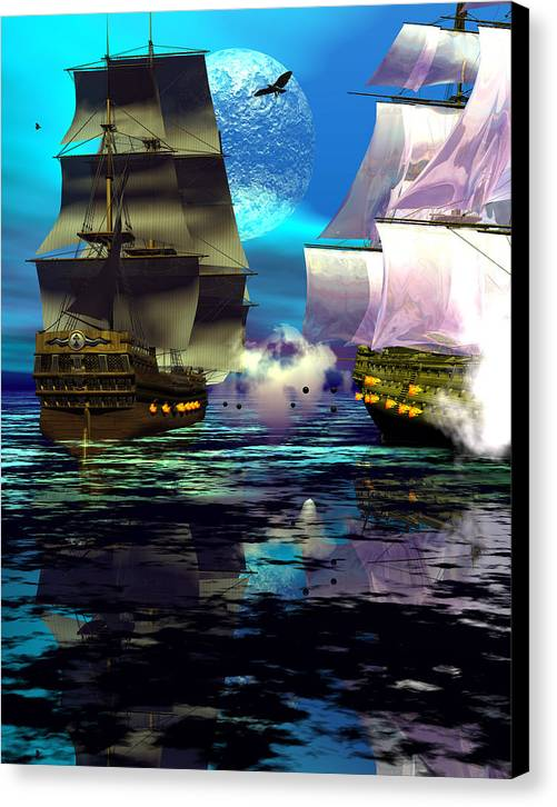 Bryce 3d Scifi Fantasy Battle \tall Ship\ Sailing Windjammer \sailing Ship\ Sailing Canvas Print featuring the digital art Fire by Claude McCoy