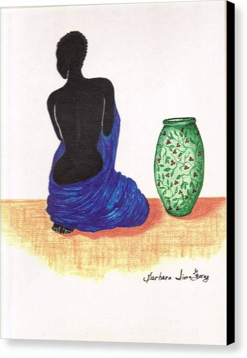 Canvas Print featuring the drawing Woman And A Ginger Jar by Bee Jay
