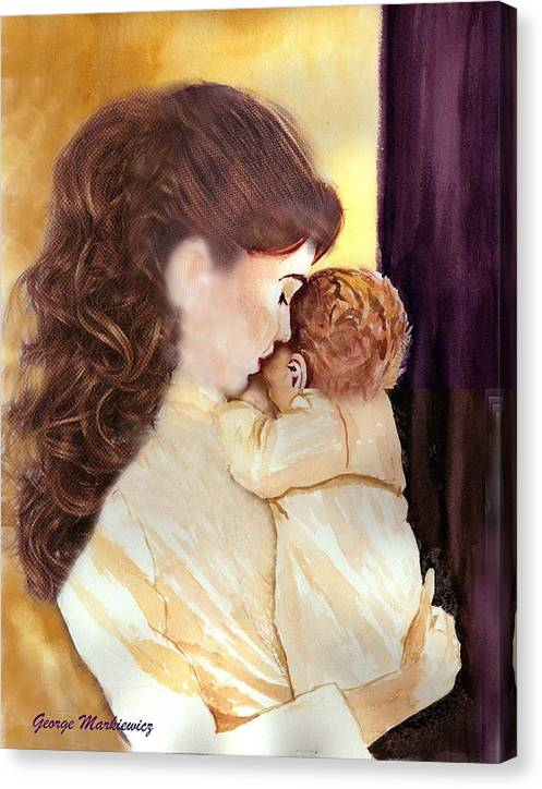 Mother And Baby Canvas Print featuring the print Tenderness by George Markiewicz