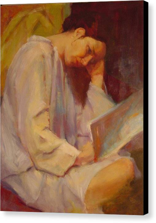 Figure Canvas Print featuring the painting Reading In The Blue Robe by Irena Jablonski