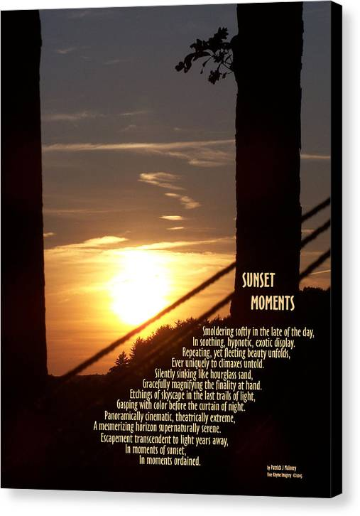 Poetry Canvas Print featuring the mixed media Sunset Moments IIi by Patrick J Maloney
