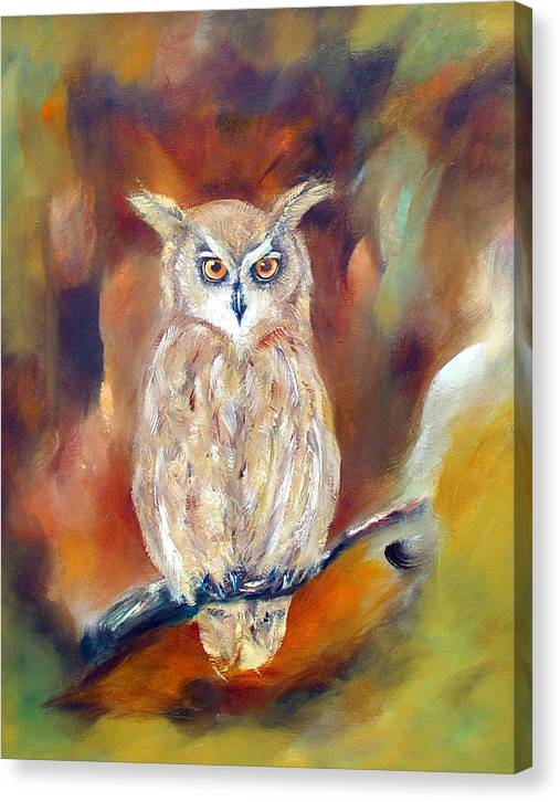 Owl Canvas Print featuring the painting Night Flight by Zoe Landria