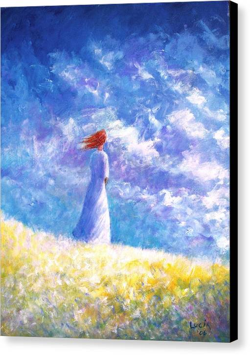 Ireland. Colleen. Young Woman. Sjyscapes. Canvas Print featuring the print Colleem's Hill by Carl Lucia