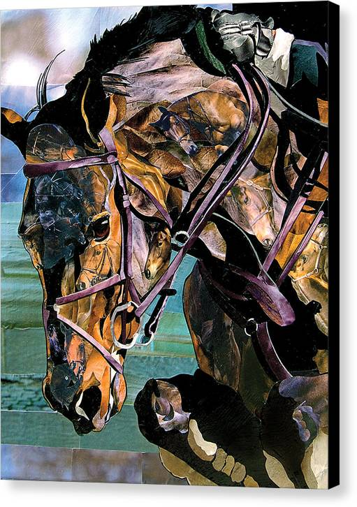 Horses Canvas Print featuring the mixed media Jumper II by Marjorie Pesek