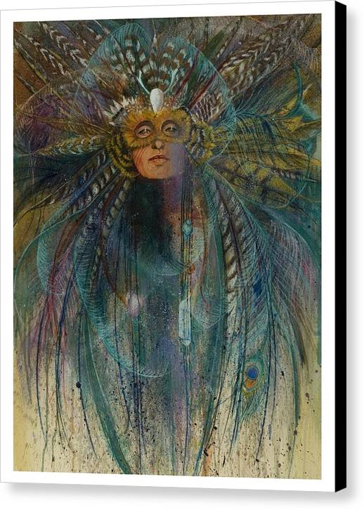 Magical Bird Woman Shamaness Who Creates Magic With Herbs And Crystals  Canvas Print featuring the pastel Birdtribe Magic by Pamela Mccabe