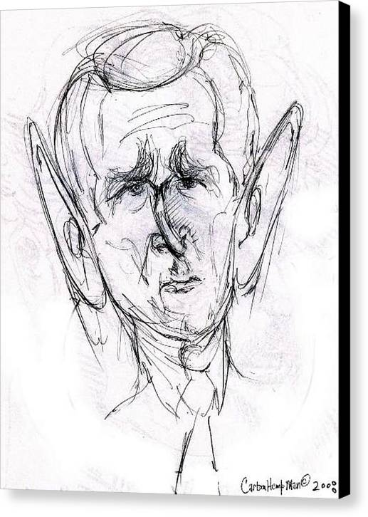 Political Cartoon President Bush Graphite Paper Canvas Print featuring the drawing George W. Bush by Cartoon Hempman