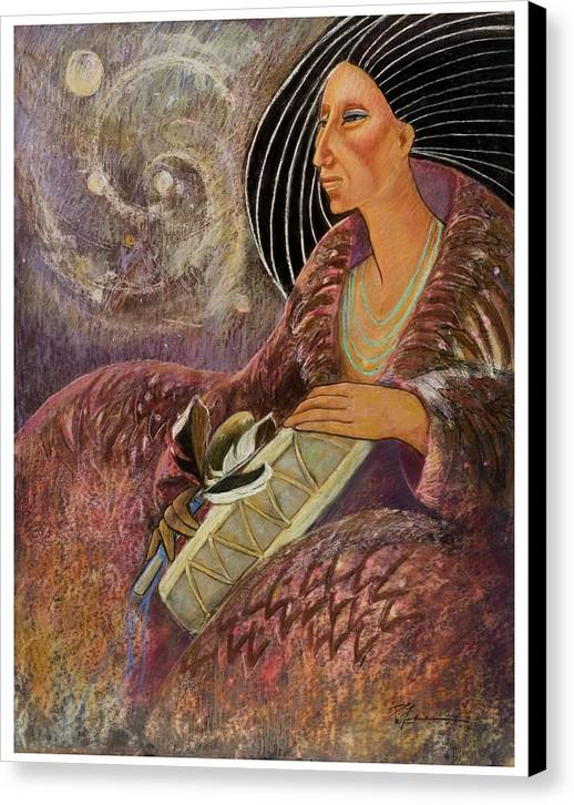 Drumming Music From The Spheres Canvas Print featuring the pastel Mayan From Milky Way Gallacy by Pamela Mccabe