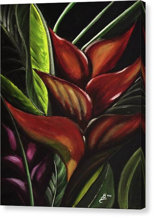 Acrylic Canvas Print featuring the painting Heliconia Flower by Kim Selig