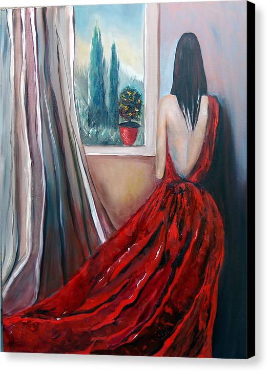 Girl Window Trees Dress Red Woman Canvas Print featuring the painting Heart Of Mine by Niki Sands