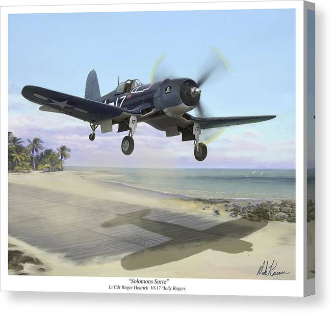 Airplane Canvas Print featuring the painting Corsair Takeoff VF-17 Jolly Rogers by Mark Karvon