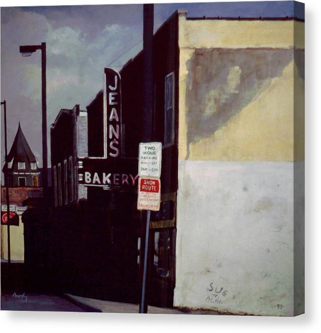 Landscape Canvas Print featuring the painting Jean's Bakery by William Brody
