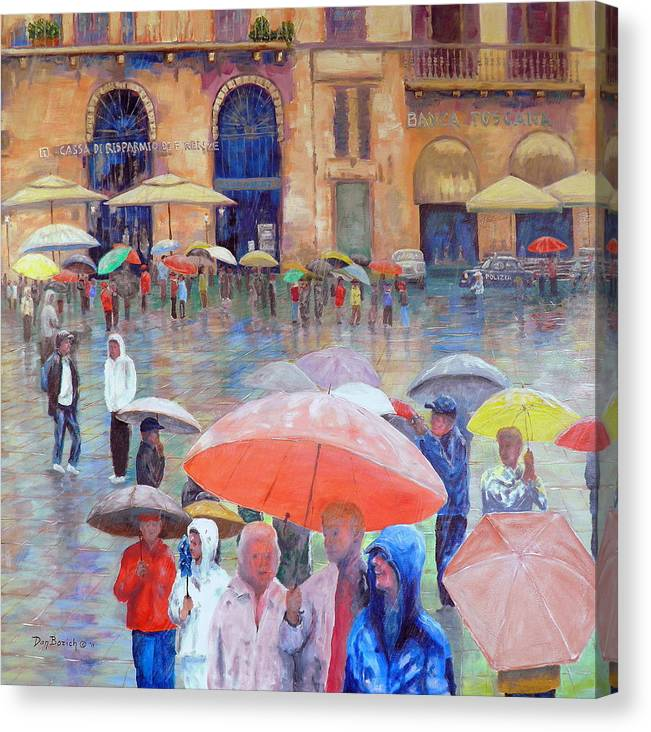 Umbrellas Canvas Print featuring the painting Florence Spring by Dan Bozich