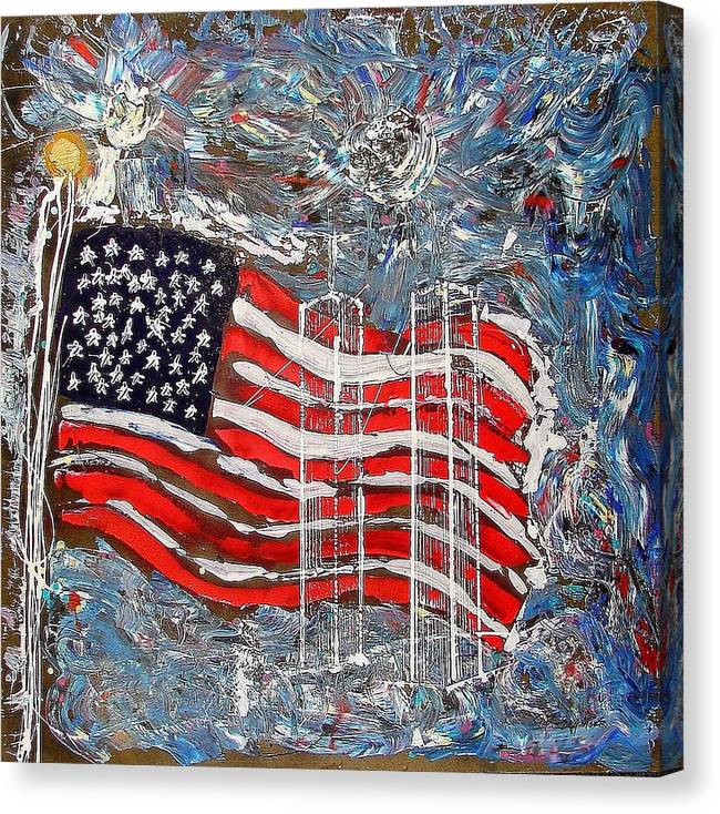 American Flag Canvas Print featuring the painting 9/11 Tribute by J R Seymour