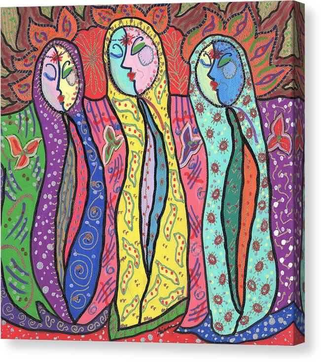 Colorful Canvas Print featuring the painting Gypsies by Sharon Nishihara