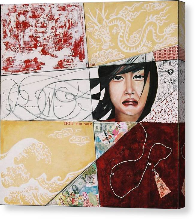 Asian Girl Canvas Print featuring the painting I Am Not A Tourist Attraction by Teresa Carter