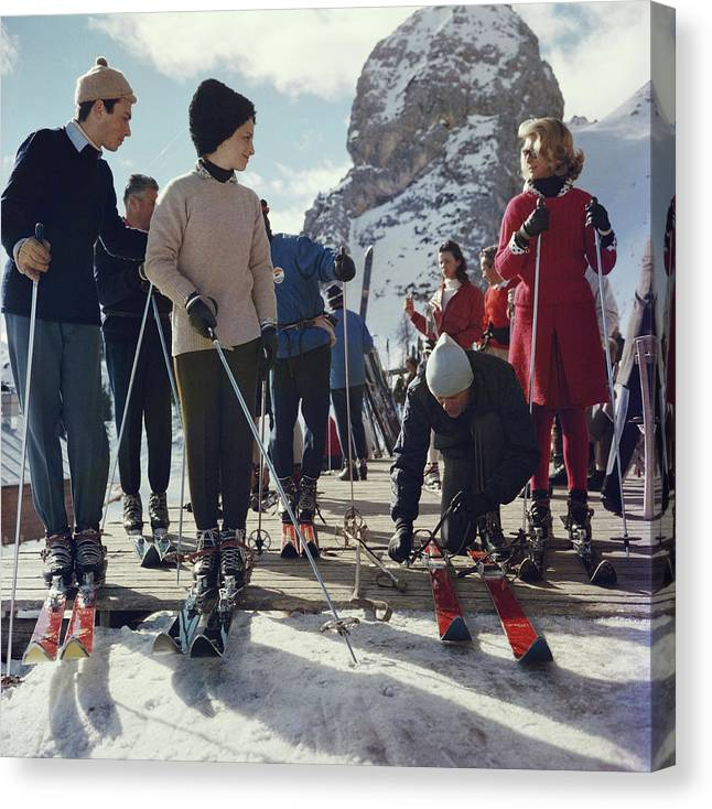 Skiing Canvas Print featuring the photograph Cortina Dampezzo by Slim Aarons
