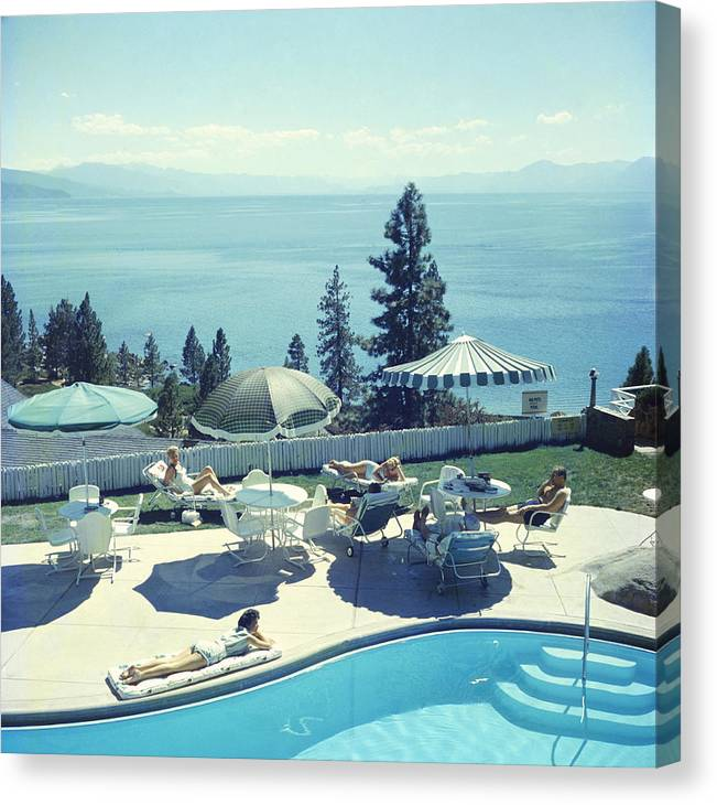 People Canvas Print featuring the photograph Relaxing At Lake Tahoe by Slim Aarons