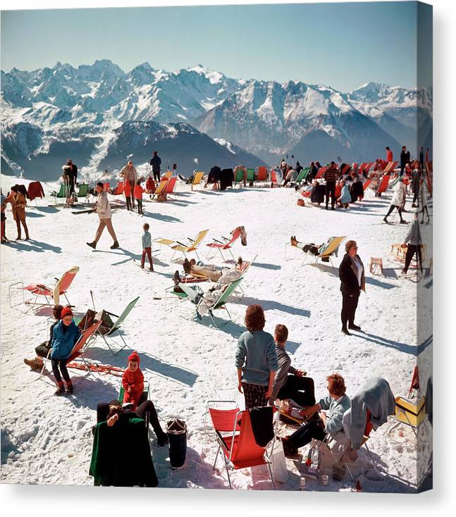 People Canvas Print featuring the photograph Verbier Vacation by Slim Aarons