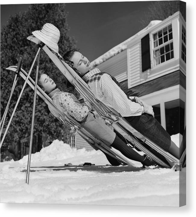 People Canvas Print featuring the photograph New England Skiing by Slim Aarons