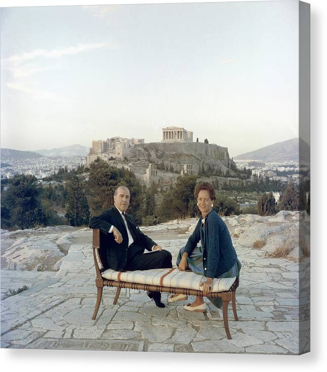 People Canvas Print featuring the photograph Ancient Greek Furniture by Slim Aarons
