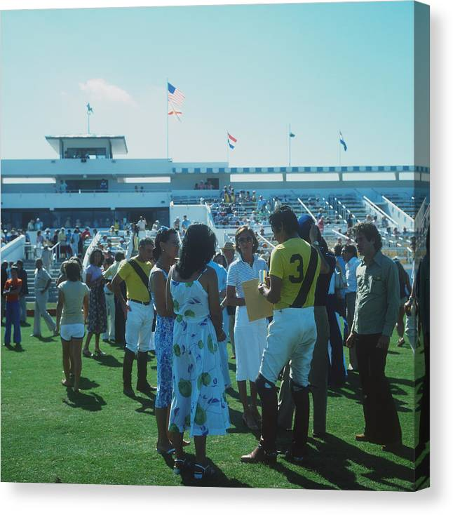 Horse Canvas Print featuring the photograph Boca Raton Polo Set by Slim Aarons