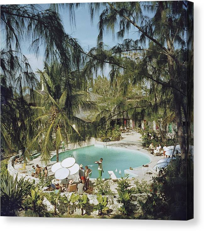 Swimming Pool Canvas Print featuring the photograph Eleuthera Pool Party by Slim Aarons