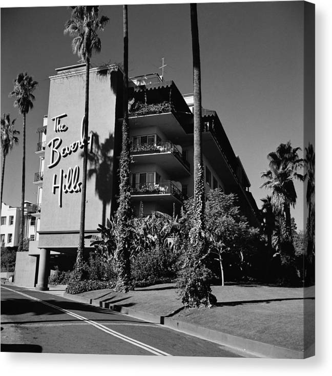 Shadow Canvas Print featuring the photograph La Hotel by Slim Aarons