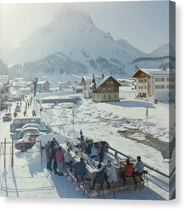 People Canvas Print featuring the photograph Lech Ice Bar by Slim Aarons
