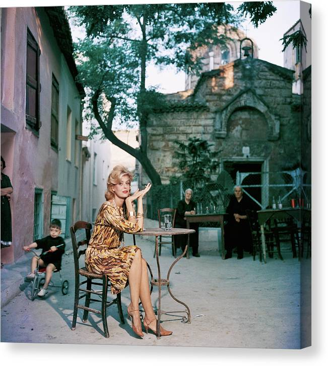 Child Canvas Print featuring the photograph Melina Mercouri by Slim Aarons