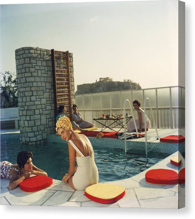 Looking Over Shoulder Canvas Print featuring the photograph Penthouse Pool by Slim Aarons