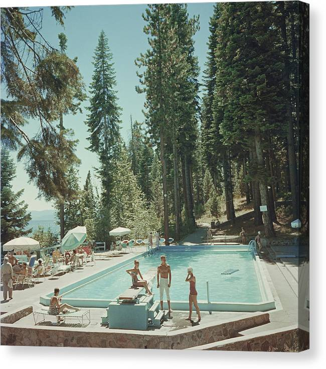 People Canvas Print featuring the photograph Pool At Lake Tahoe by Slim Aarons