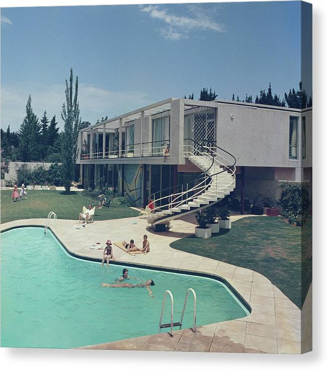 People Canvas Print featuring the photograph South Africa Swimming Pool by Slim Aarons