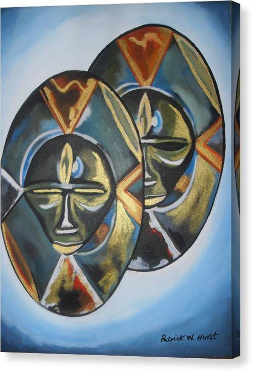 African Art Canvas Print featuring the painting African Double Mask by Patrick Hunt