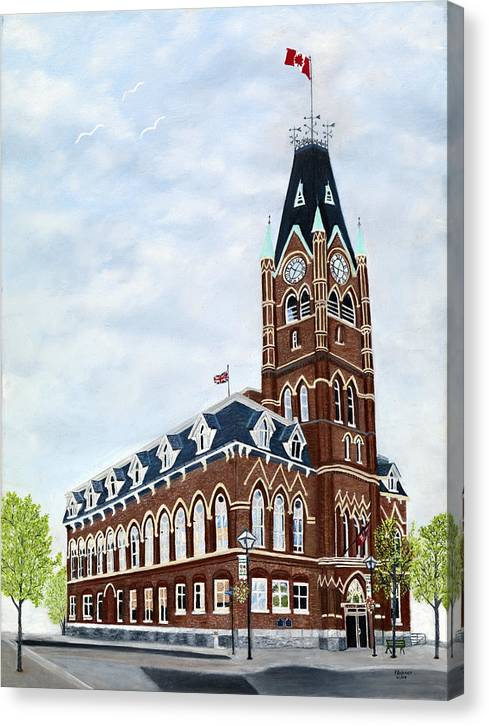 Belleville Ontario Painting Canvas Print featuring the painting City Hall circa1873 Belleville Ontario by Peggy Holcroft