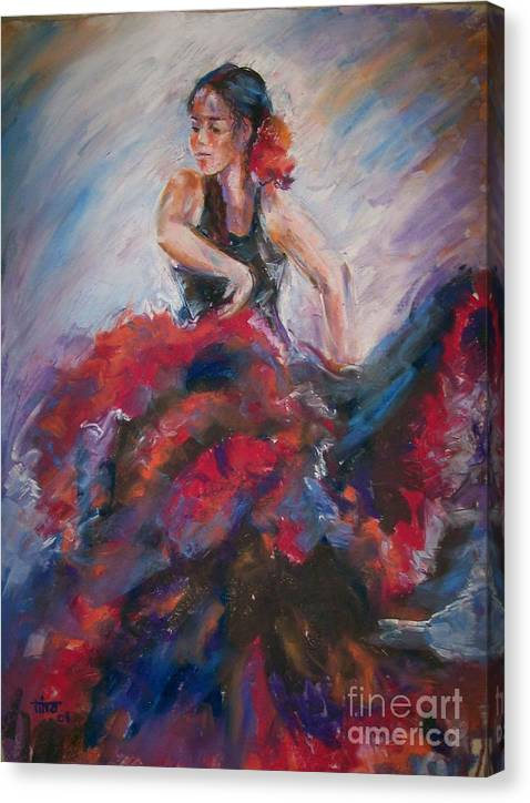 Figurative Canvas Print featuring the painting Passionate Flameco 2 by Tina Siddiqui