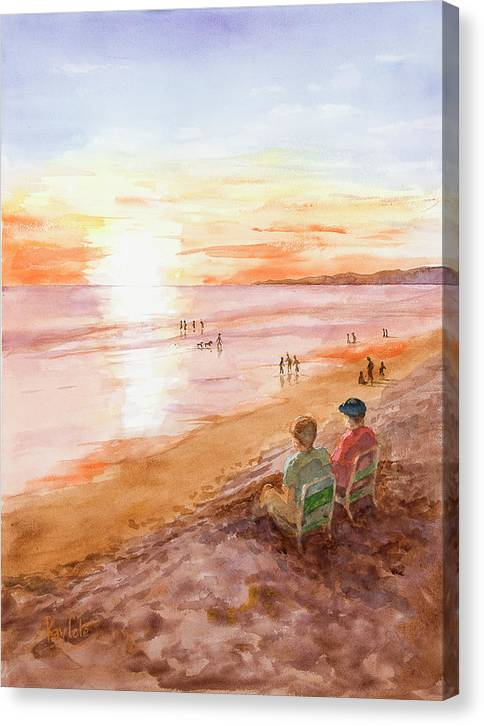 Sunset Canvas Print featuring the painting Low Tide At Sunset by Ray Cole