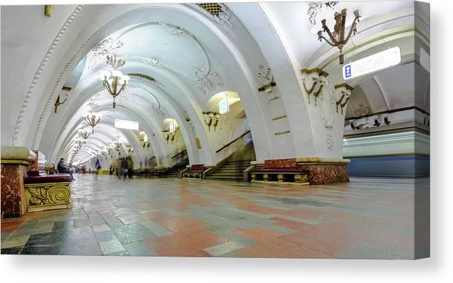 Arch Canvas Print featuring the photograph Arbatskaya Metro by Mordolff