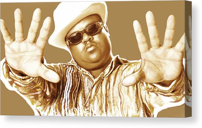 Biggie Smalls Stylised Pop Art Colour Drawing Poster. Portraits Canvas Print featuring the drawing Biggie smalls stylised pop art colour drawing poster by Kim Wang