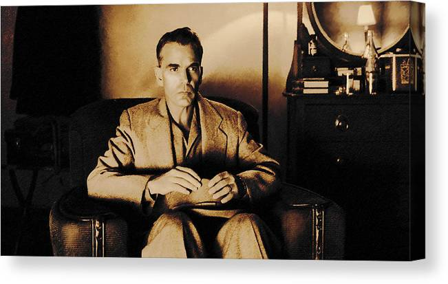 Billy Bob Thornton Canvas Print featuring the digital art Billy Bob Thornton as Ed Crane in the film The Man Who Wasn t There by Gabriel T Toro