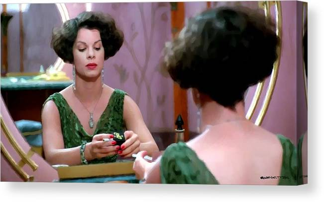 Ethan Coen Movies Canvas Print featuring the digital art Marcia Gay Harden as Verna Bernbaum in the film Miller s Crossing by Joel and Ethan Coen by Gabriel T Toro