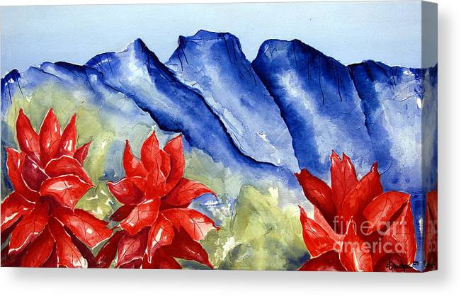 Mountains Canvas Print featuring the painting Monterrey Mountains with Red Floral by Kandyce Waltensperger