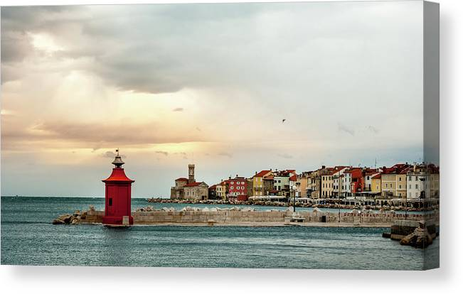 Tranquility Canvas Print featuring the photograph Piran Slovenia by Digital Image