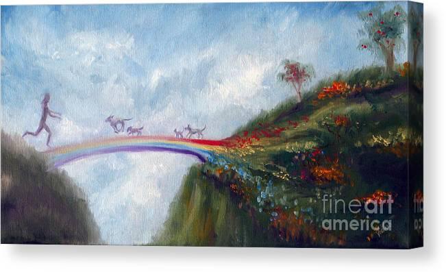 Dog Canvas Print featuring the painting Rainbow Bridge by Stella Violano