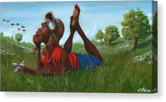 Tuskegee Canvas Print featuring the painting Red Tail Dreamer by Jerome White