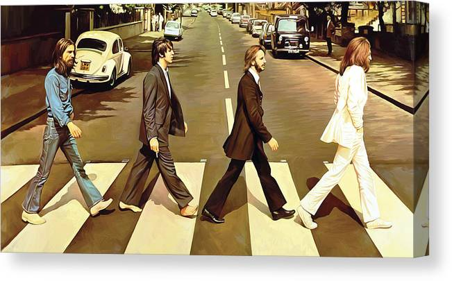 The Beatles Abbey Road Paintings Canvas Print featuring the painting The Beatles Abbey Road Artwork by Sheraz A