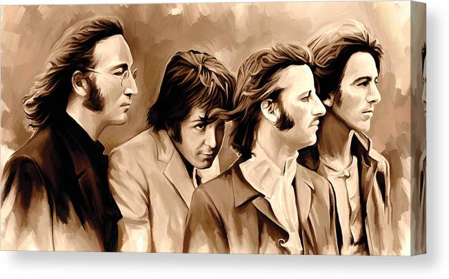 The Beatles Paintings Canvas Print featuring the painting The Beatles Artwork 4 by Sheraz A
